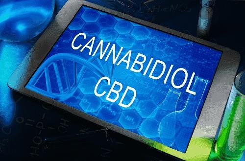 Tablet screen with text Cannabidiol CBD