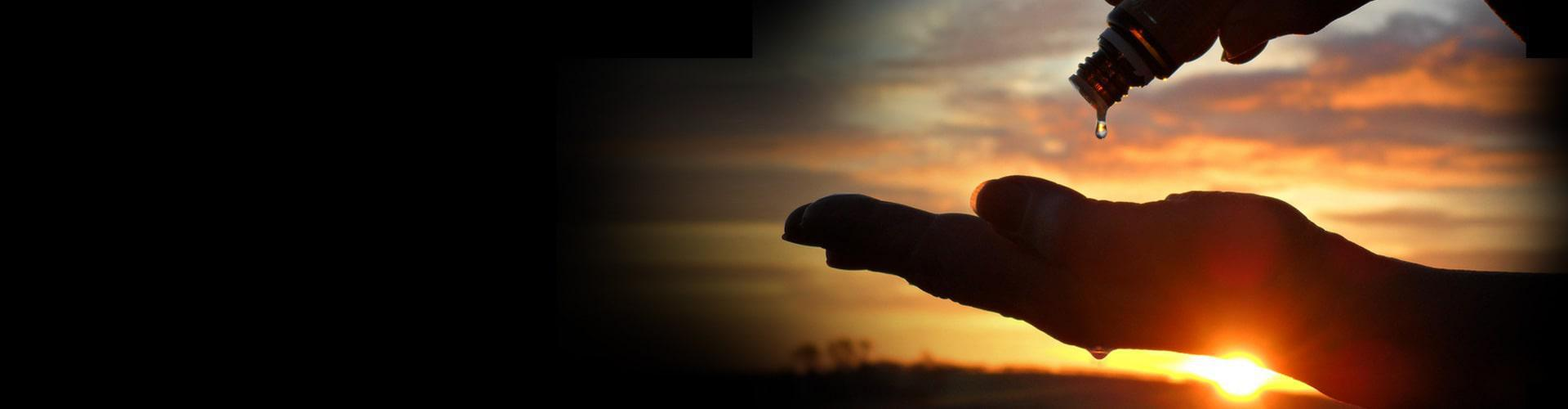 Elixinol CBD oil being dripped on a hand in front of a sunset