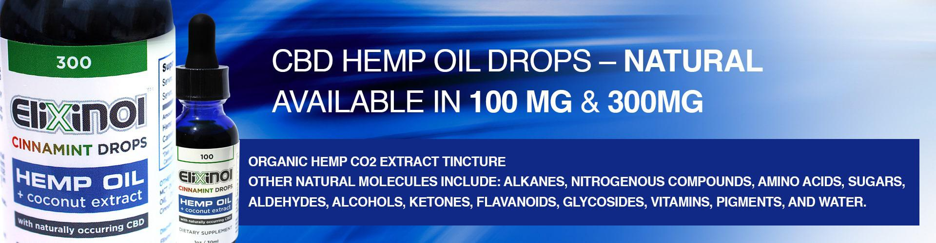 Blue banner with two bottles of Elixinol hemp CO2 extract tincture