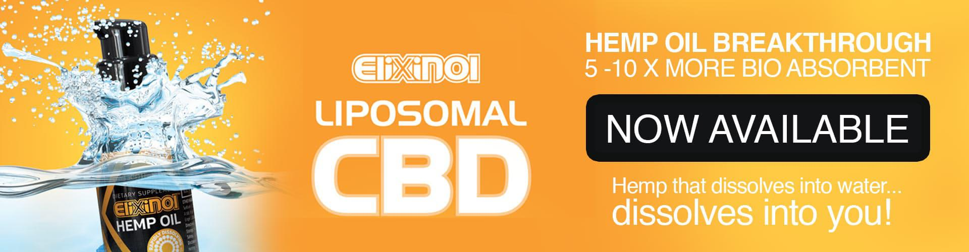 "Orange banner with text ""hemp oil breakthrough, 5-10 times more bio absorbent, now available"""
