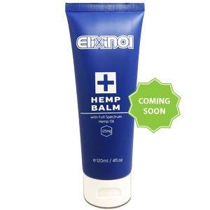 "Blue bottle of Elixinol Hemp Balm with text ""coming soon"""