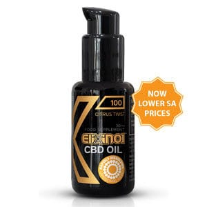 "Black bottle of Elixinol Hemp Oil Liposomes 100mg Citrus Twist with text ""Now lower SA prices"""