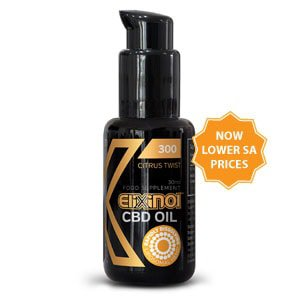 """Black bottle of Hemp Oil Liposomes 300mg Citrus Twist with text """"Now lower SA prices"""""""